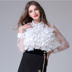 05949103d6248c New Arrival Fashion Womens Elegant Appliques Lace Mesh Blouse Casual  Chiffon Stereo flowers Long Sleeve Tops Blusas Femininas