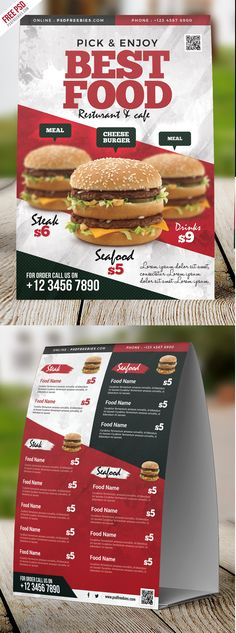 Download Free Restaurant Food Menu Table Tent Card PSD. This Restaurant Food Menu Table Tent Card PSD design is suitable for fast foods, grill, jerk, hot alcohol pub, italian, mexican, american restaurants and any related food businesses. All main elements are customizable and easy to edit font, text, color, fully adobe photoshop format.