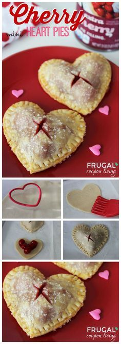 Valentines Dessert. Valentine's Day Mini Heart Cherry Pies. Valentines Idea. Cherry Pie Recipe.