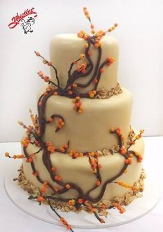 Princess torte wedding cake with natural colored marzipan and creeping vines with berries