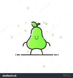 Vector Illustration Of Funny Pear Character Cartoon Isolated In Line Style. Linear Green Cute Fruit Icon With Face Smile. Flat Design For Banner, Web Page And Mobile App. Outline Vegan Expression. - 508141681 : Shutterstock