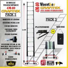 ECHELLE 4M40 GRAFITEK AVEC BARRE STABILISATRICE + Plateforme et Housse