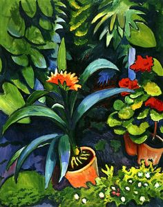 August Macke ~ Flowers in the Garden, Clivia and Geraniums, 1911