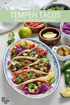 Tempeh Tacos - 42 Probiotic Rich Vegan & Gluten-Free Recipes, How to Improve Gut Health , Probiotic and Prebiotic Rich Foods, Health Benefits + MORE can all be found in this gut healing vegan recipe round-up! Vegetarian Mexican Recipes, Vegan Recipes, Vegetarian Tacos, Free Recipes, Health Recipes, Vegetarian Dinners, Vegan Food, Probiotic Foods, Health Foods