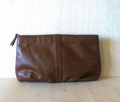 Vintage 1980s Antonia Brown Leather Clutch Purse Handbag by ForestaVintage on Etsy