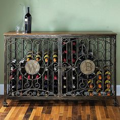 Personalized 84 Bottle Antiqued Steel Wine Jail Console