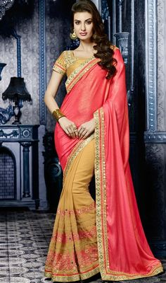 All of this accenting the feminine elegance, with this sandy brown & salmon chiffon saree. The ethnic resham & lace work at the clothing adds a sign of attractiveness statement with your look. #onlineshimmersaree #halfnhalfshimmersari #embroideredsarees