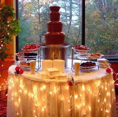 A chocolate fountain to dream about at the Chula Vista Resort. Are you thinking of having waterfalls of chocolate at your wedding? Check out this fabulous chocolate fountain ideas and ¡indulge! Chocolate Fountain Wedding, Chocolate Fountains, Chocolate Fondue Fountain, Party Platters, Reception Food, Wedding Reception, Wedding Ideas, Reception Decorations, Wedding Venues
