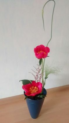 Ikebana with paeonia