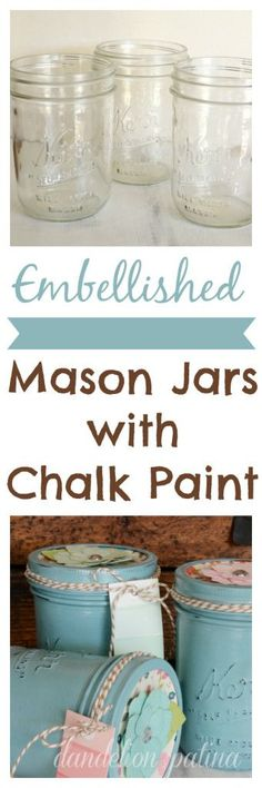Perfect for Mother's Day, Teacher's Appreciation Gifts, Birthday Gifts and much more! These Embellished DIY Chalk Paint Mason Jars are easy to make and take just a few supplies! Be sure to save them by pinning to your Craft Board!