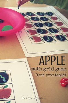 Best Toys 4 Toddlers - Apple Math Grid Game (free printable) - counting, work on number recognition and taking turns with toddlers and preschoolers Autumn Activities For Kids, Fun Activities To Do, Preschool Learning Activities, Alphabet Activities, Preschool Activities, Children Activities, Kindergarten Activities, Grid Game, Montessori Sensorial