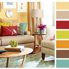 43 Various Color Living Room Scheme Ideas Living Room Color Combination, Living Room Color Schemes, Living Room Colors, Living Room Paint, Room Paint Colors, Home Living Room, Living Room Decor, Design Apartment, Colourful Living Room
