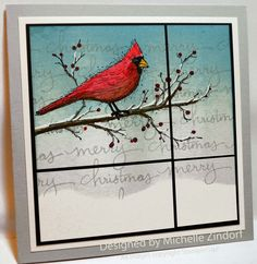Cardinal in the Window Stampin' Up! Card created by Michelle Zindorf using the Beauty of the Season Stamp set