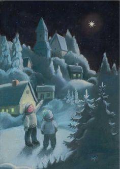 Series: Oh Christmas tree Christmas Tale, Christmas And New Year, Vintage Christmas, Christmas Cards, Funny Drawings, Good Night Moon, Winter Art, Christmas Illustration, Scandinavian Christmas