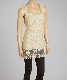 Look what I found on #zulily! Caramel Embroidered Silk-Blend Top by Pretty Angel #zulilyfinds