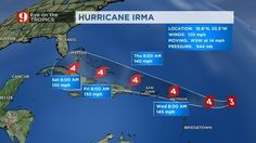 "... ""Irma is a very serious threat all across the northern Caribbean and Bahamas and an increasing threat to Florida possibly including central Florida. DONT WAIT to come up with a hurricane emergency plan. Know if youre in a potential coastal evacuation zone"" said certified Chief meteorologist Tom Terry.""... Hurricane Irma: Storm becomes Category 4 