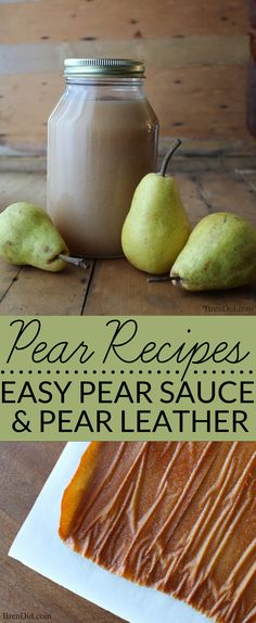 Pear sauce and pear leather are easy pear recipes to make with fresh pears. Pear sauce freezes and cans well. Pear leather is a great sugar free snack. They are the perfect use for extra pears. (Apple Recipes For Canning) Fresh Pear Recipes, Pear Recipes Healthy, Fruit Recipes, Apple Recipes, Real Food Recipes, Healthy Snacks, Pear Recipes To Freeze, Recipes With Pears, Vegan Recipes