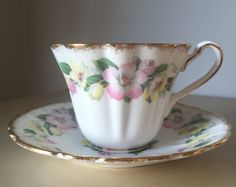Hand Painted Floral Tea Cup and Saucer Sampson Smith by CupandOwl