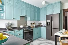 Blue kitchen cabinets for sale teal kitchen cabinets teal painted kitchen cabinets royal blue accessories turquoise . Blue Kitchen Cabinets, Teal Kitchen Cabinets, Interior Design Kitchen, Contemporary Kitchen, Toronto Interior Design, Kitchen Cabinet Colors, Teal Kitchen, Kitchen Renovation, Kitchen Design