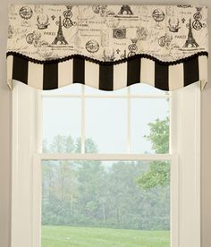 Parisian Script Lined Layered Scalloped Valance--- in the whimsical category--- from Country Curtains.