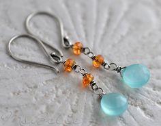 Aqua Chalcedony Mandarin Garnet Dangle Earrings in by MsBelle