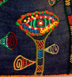 ZinaNatko. Embroidery in the free technique. Details from Three strange flower eyes-9