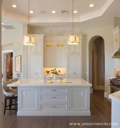 kitchens - hardwood floors, white cabinets, brass accents
