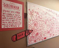 Group Art Projects, High School Art Projects, Collaborative Art Projects For Kids, Collaborative Mural, Art Education Projects, Art Bulletin Boards, Interactive Bulletin Boards, Art Boards, Ecole Art