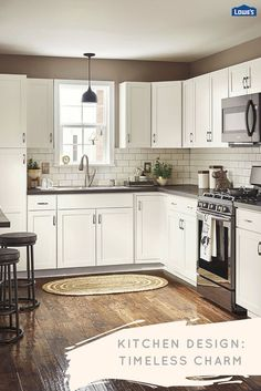 Pairing white cabinets with classic subway tile and a rustic wood floor fill this kitchen with timeless appeal. Gray accents carried through the countertop, backsplash grout, and barstools provide a clean contrast.