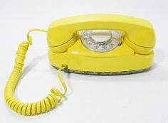 1970s Vintage Phone Yellow rotary dial telephone