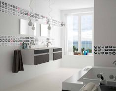 Decor Kiss brings freshness and youthful style to the #bathroom.  #ceramics #kisses #tiles #interiordesign
