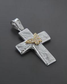 Σταυρός βαπτιστικός Λευκόχρυσος K14 με κίτρινο Χρυσό & Ζιργκόν Christian Symbols, Crosses, Tie Clip, Christianity, Cufflinks, Pendant, Accessories, Jewelry, Bebe