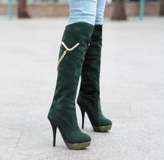 High boots for women fashion metal chain decorative shoes Z-DDL9-1 green