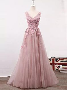 A-line V-neck Floor-length Sleeveless Tulle Prom Dress/Evening Dress # VB867