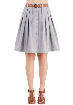 Living the Dream Skirt in Grey. Each day when you dress, you feel fortunate to wear this grey chambray skirt. #grey #modcloth