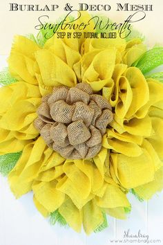 Burlap and deco mesh sunflower wreath