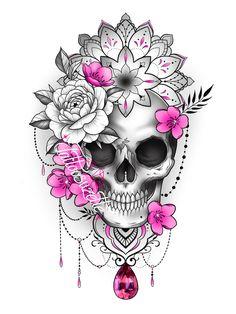 Girly Skull Tattoos, Skull Tattoo Flowers, Mandala Flower Tattoos, Skull Girl Tattoo, Flower Tattoo Drawings, Floral Tattoo Design, Mandala Tattoo Design, Skull Tattoo Design, Flower Tattoo Designs
