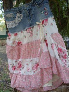medium large skirt tall long denim skirt pink roses skirt rh pinterest com shabby chic skirts and tops shabby chic christmas tree skirts