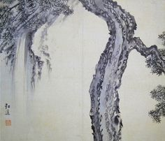 (Korea) 절학송폭 by Danwon Kim Hong-do (1745-1806). color on paper. Joseon Kingdom, Korea. 절학송폭도. 41.7×48cm. Gansong gallery, Korea.