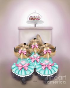 Saint Cupcakes  Tree Yorkshire Terriers sisters, beging for cupcakes.  By Catia Cho  All rights reserved. Giclee Prints, greeting cards and phone covers.