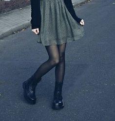Dark Green Dress x Black Cardigan x Black Tights x Black DocMartens