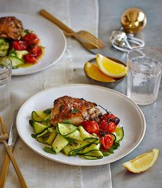 Lemon-thyme chicken with roast tomato and zucchini salad recipe