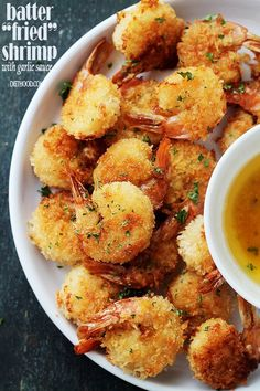 "Baked Batter ""Fried"" Shrimp with Garlic Dipping Sauce Recipe @FoodBlogs"
