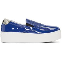 Kenzo Blue Patent Platform Sneakers ($300) ❤ liked on Polyvore featuring shoes, sneakers, blue, kenzo shoes, low top, low profile sneakers, slip-on sneakers and low top platform sneakers
