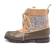 Khaki Milo Boots - Love the tweed detailing!