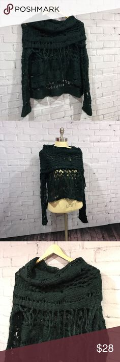 "Free People cowl neck sweater deep teal, medium 🎄 fabulous hi-lo cowl neck sweater. medium. lots of stretch but arm pit to arm pit 21"" across, laying flat. no trades please 🙏🏻 Free People Sweaters Cowl & Turtlenecks"