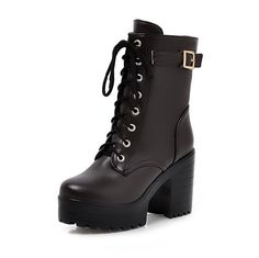 WeiPoot Womens Blend Materials Solid High-Heels Low-Top Round Closed Toe Boots >>> This is an Amazon Affiliate link. Find out more about the great product at the image link.