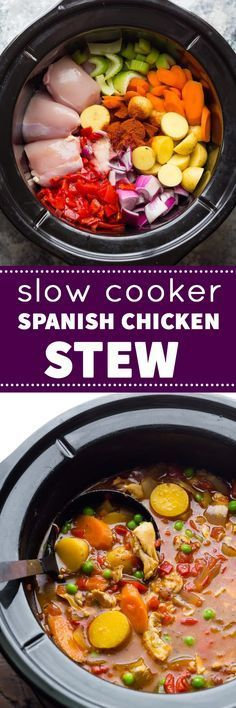 This slow cooker Spanish chicken stew will warm you right up and is packed full of fresh vegetables! This slow cooker Spanish chicken stew will warm you right up and is packed full of fresh vegetables! Slow Cooker Huhn, Crock Pot Slow Cooker, Slow Cooker Recipes, Soup Recipes, Chicken Recipes, Dinner Recipes, Cooking Recipes, Healthy Recipes, Casserole Recipes