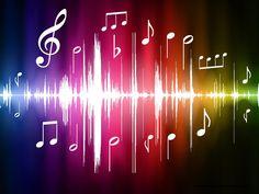 notas musicales bajo fondo de color