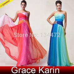 Trova più Vestito da sera Informazioni su grazia karin donne ombre colorato  di verde blu in 812287a9026